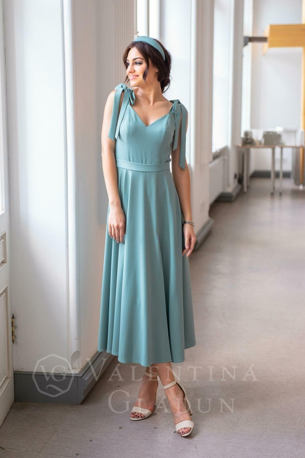 Valentina Gladun. Вечернее платье Adele midi Beryl Green